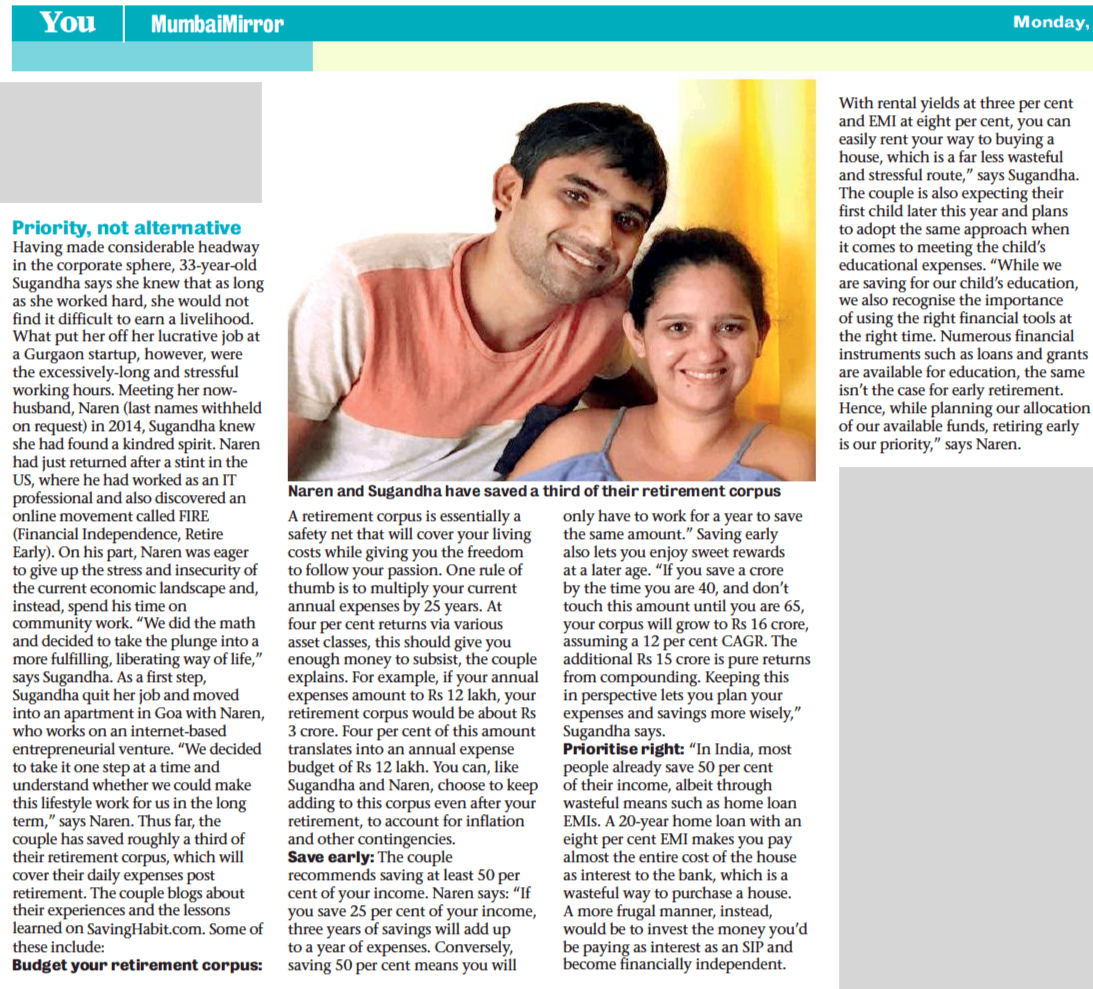 Retire at 40 Mumbai Mirror Article featuring Naren & Sugandha