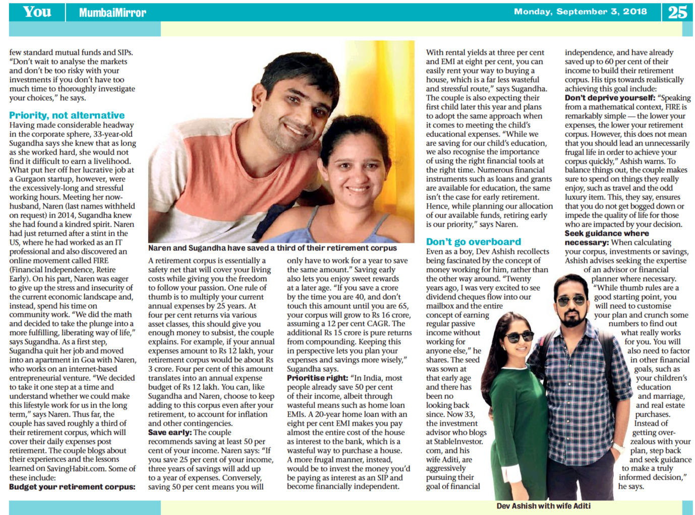 Snapshot of Mumbai Mirror Article Featuring Sugandha & Naren