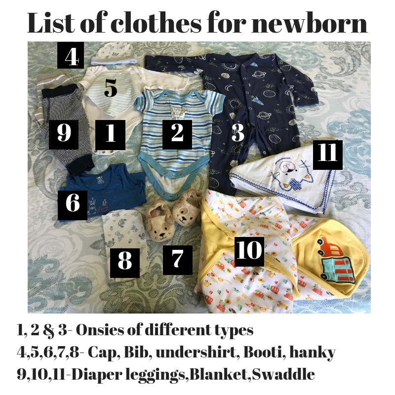 List of clothes for new born